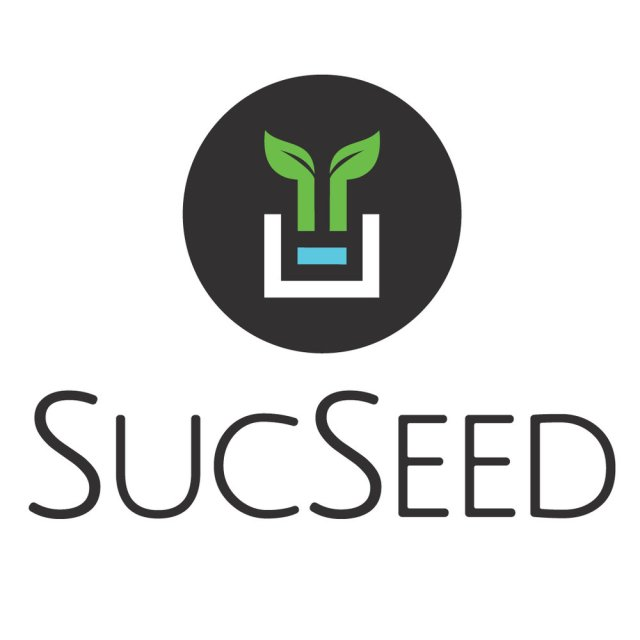 """The logo for SucSeed, a Newfoundland-based hyrdoponics company. The logo is a black circle with an outline of a plant growing in the middle, and the word """"SucSeed"""" written underneath."""